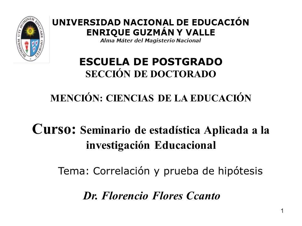 1 Tema: Correlación y prueba de hipótesis Curso: Seminario de estadística Aplicada a la investigación Educacional UNIVERSIDAD NACIONAL DE EDUCACIÓN EN