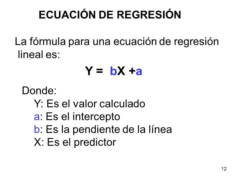 12 ECUACIÓN DE REGRESIÓN La fórmula para una ecuación de regresión lineal es: Y = bX +a Donde: Y: Es el valor calculado a: Es el intercepto b: Es la p