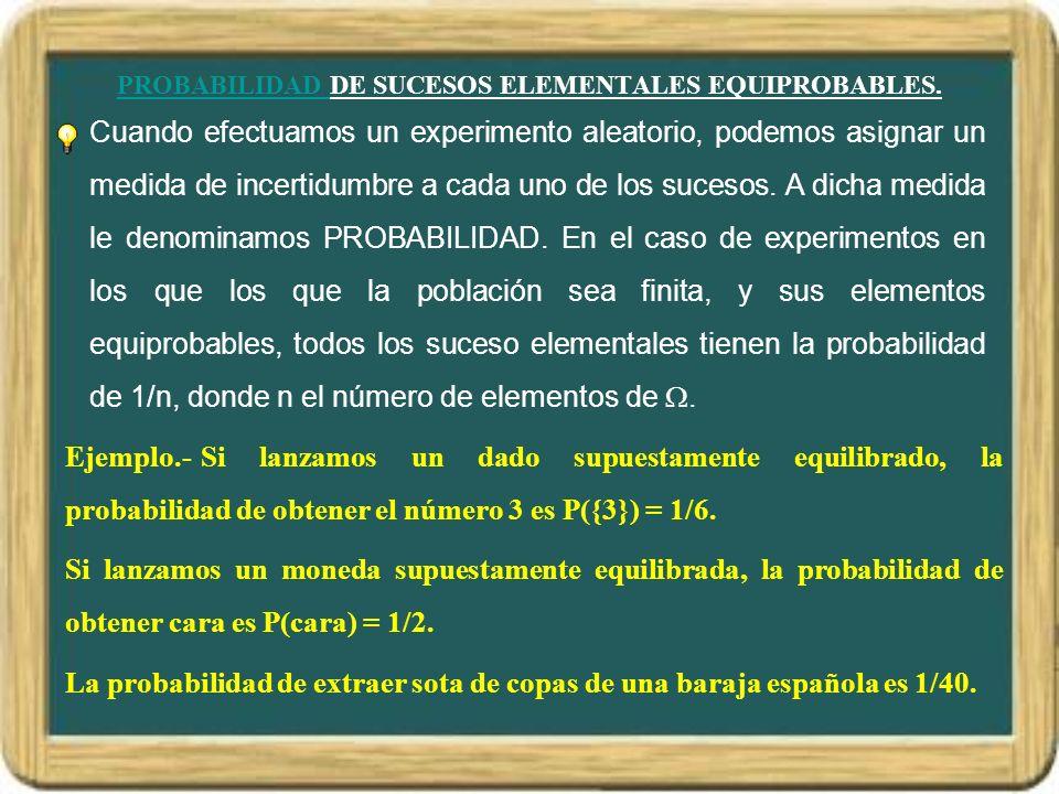 PROBABILIDAD DE SUCESOS EQUIPROBABLES.