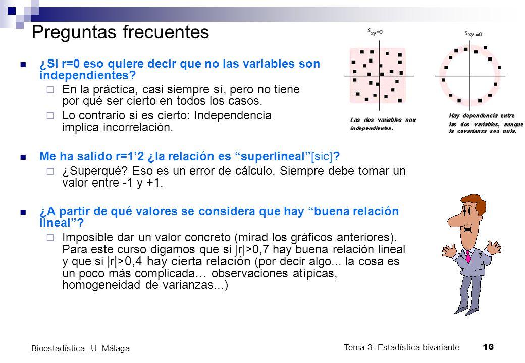 Tema 3: Estadística bivariante 16 Bioestadística. U. Málaga. Preguntas frecuentes ¿Si r=0 eso quiere decir que no las variables son independientes? En