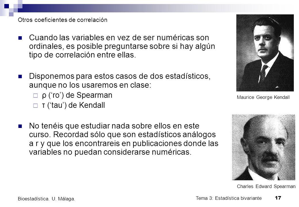 Tema 3: Estadística bivariante 17 Bioestadística. U. Málaga. Otros coeficientes de correlación Cuando las variables en vez de ser numéricas son ordina