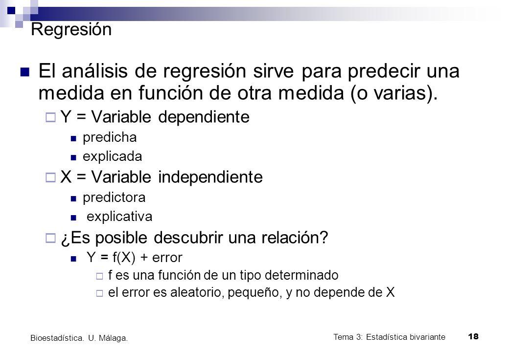 Tema 3: Estadística bivariante 18 Bioestadística. U. Málaga. Regresión El análisis de regresión sirve para predecir una medida en función de otra medi
