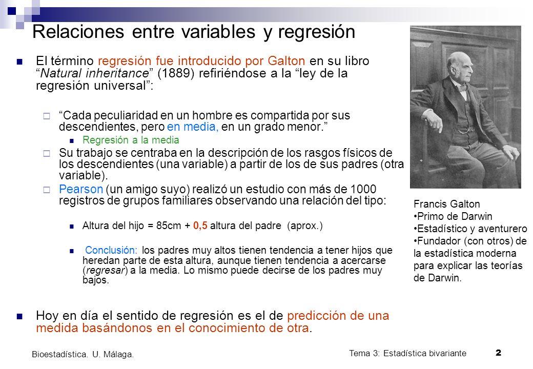 Tema 3: Estadística bivariante 2 Bioestadística. U. Málaga. Relaciones entre variables y regresión El término regresión fue introducido por Galton en