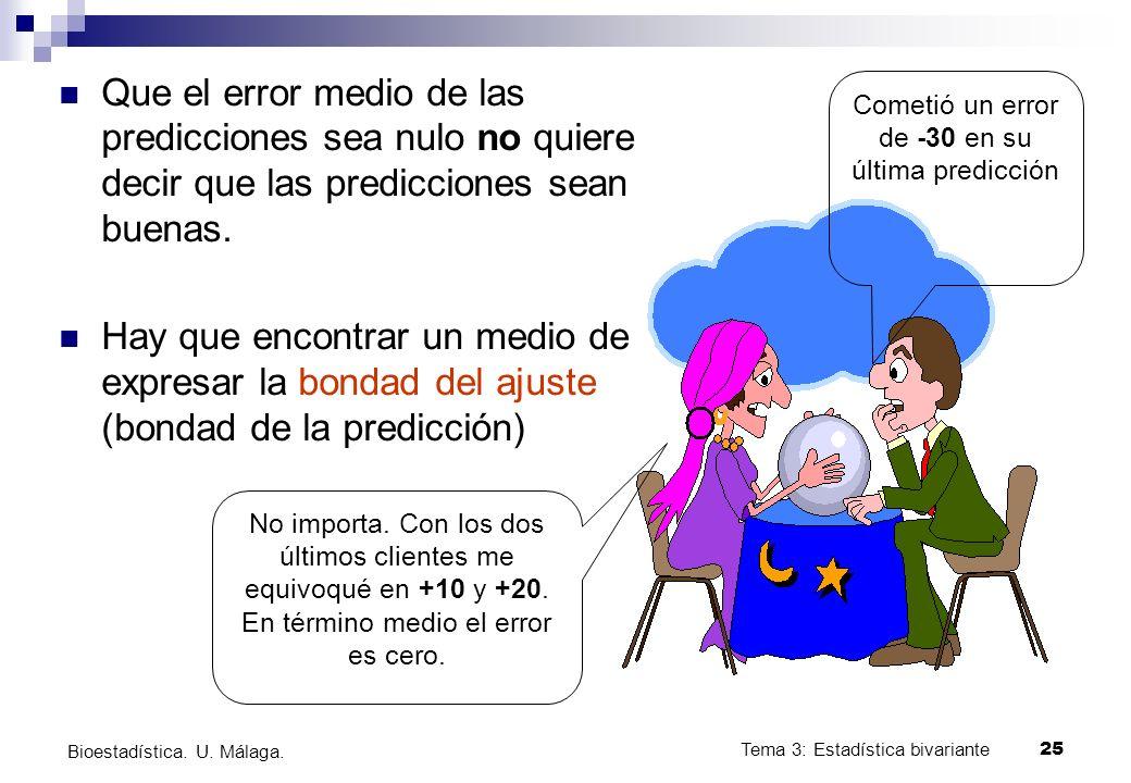 Tema 3: Estadística bivariante 25 Bioestadística. U. Málaga. Que el error medio de las predicciones sea nulo no quiere decir que las predicciones sean