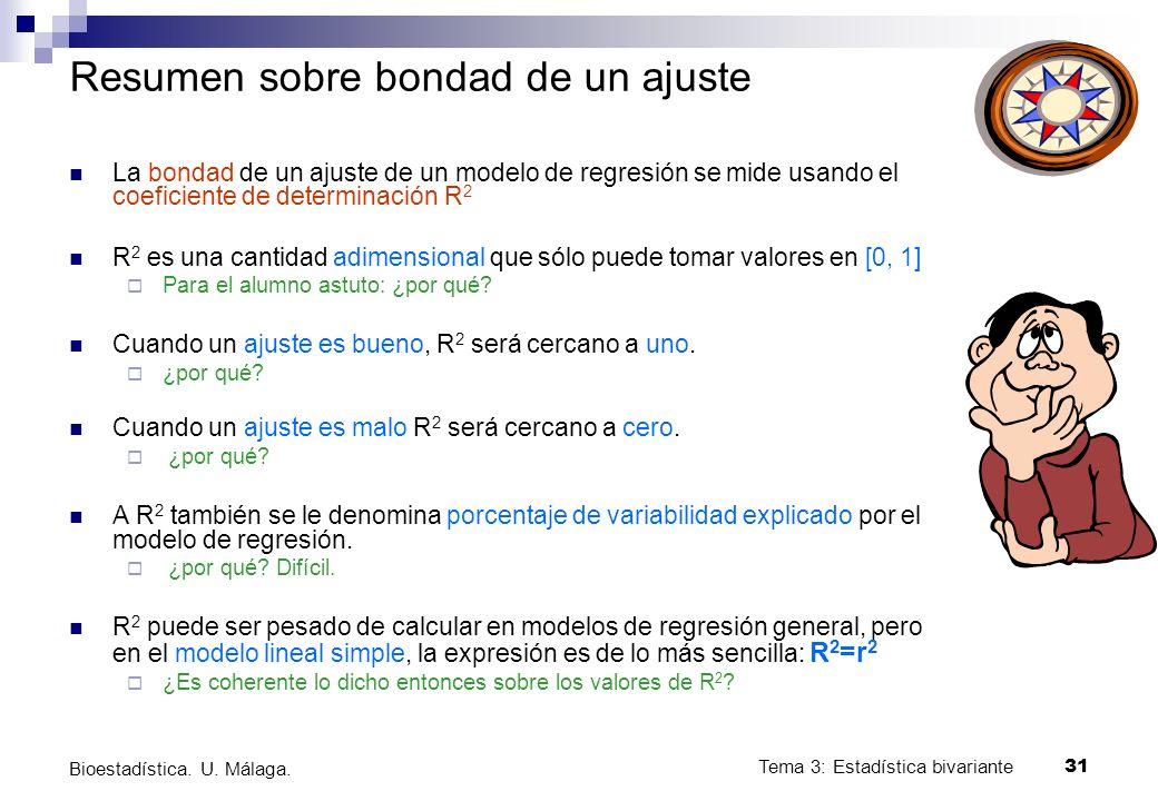 Tema 3: Estadística bivariante 31 Bioestadística. U. Málaga. Resumen sobre bondad de un ajuste La bondad de un ajuste de un modelo de regresión se mid