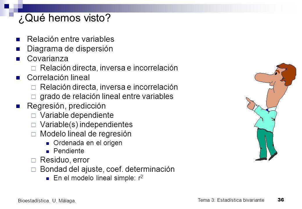 Tema 3: Estadística bivariante 36 Bioestadística. U. Málaga. ¿Qué hemos visto? Relación entre variables Diagrama de dispersión Covarianza Relación dir