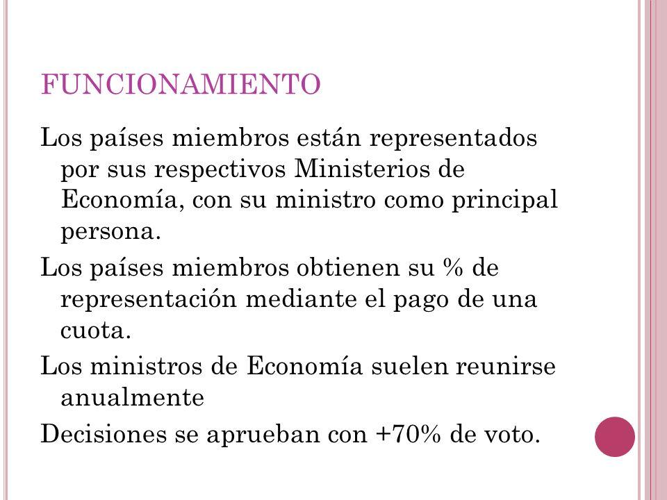 FUNCIONAMIENTO Los países miembros están representados por sus respectivos Ministerios de Economía, con su ministro como principal persona. Los países