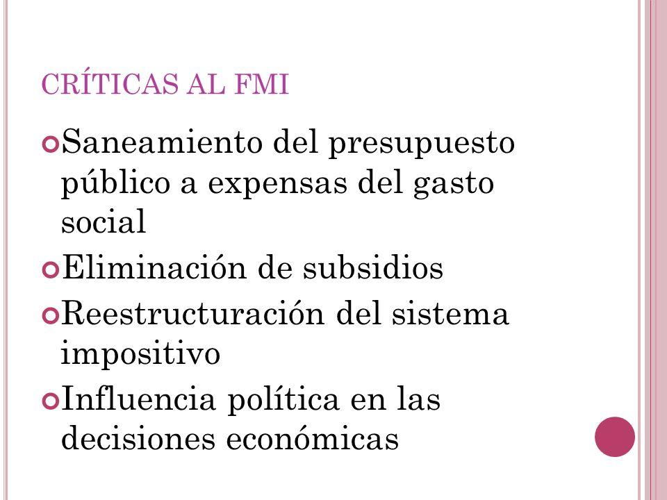 CRÍTICAS AL FMI Saneamiento del presupuesto público a expensas del gasto social Eliminación de subsidios Reestructuración del sistema impositivo Influ