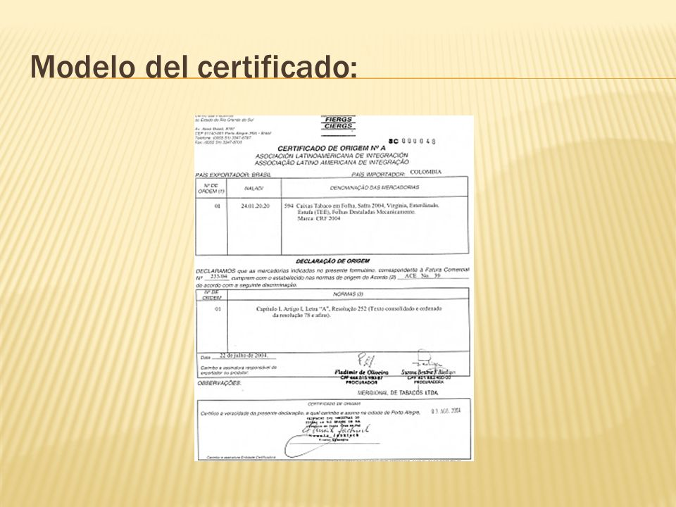 Modelo del certificado: