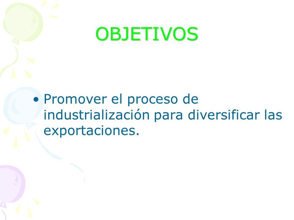 OBJETIVOS Promover el proceso de industrialización para diversificar las exportaciones.