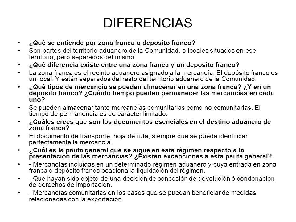 DIFERENCIAS ¿Qué se entiende por zona franca o deposito franco? Son partes del territorio aduanero de la Comunidad, o locales situados en ese territor