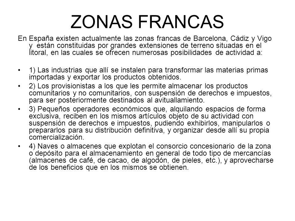ZONAS FRANCAS En España existen actualmente las zonas francas de Barcelona, Cádiz y Vigo y están constituidas por grandes extensiones de terreno situa