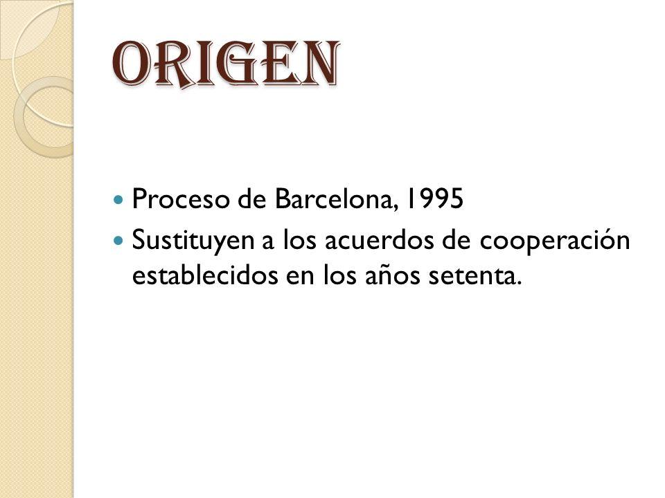ORIGEN Proceso de Barcelona, 1995 Sustituyen a los acuerdos de cooperación establecidos en los años setenta.