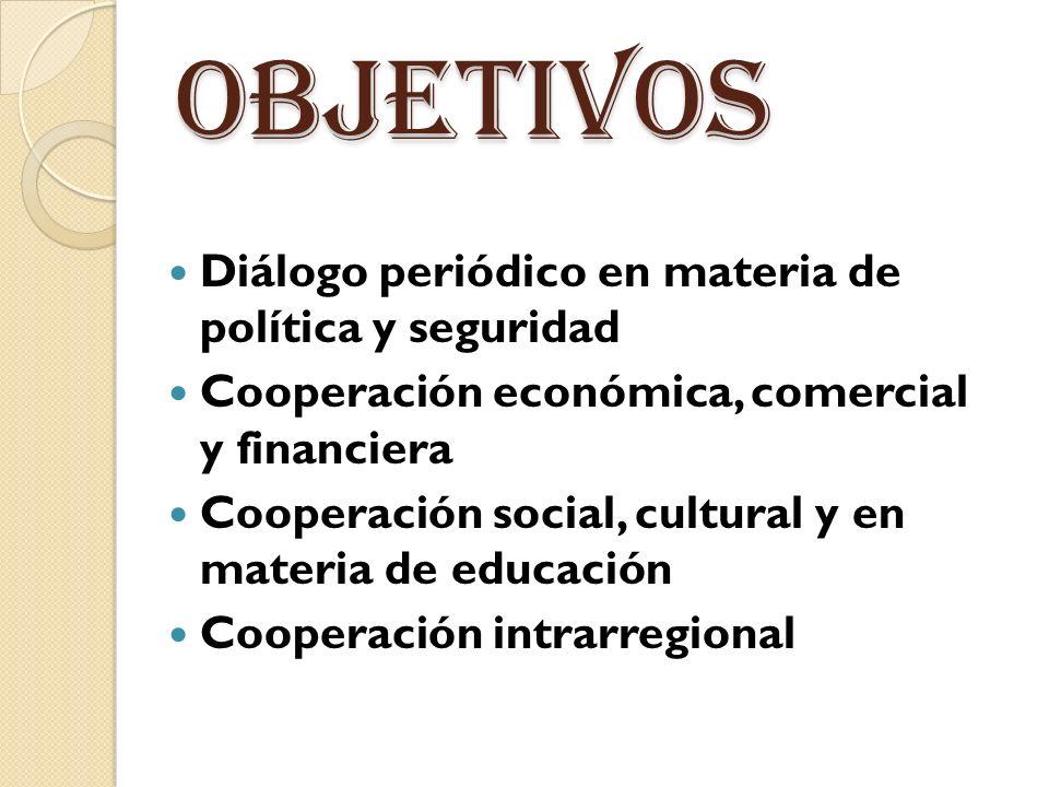 objetivos Diálogo periódico en materia de política y seguridad Cooperación económica, comercial y financiera Cooperación social, cultural y en materia de educación Cooperación intrarregional