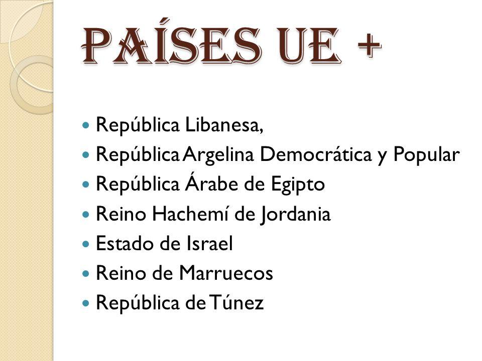 Países ue + República Libanesa, República Argelina Democrática y Popular República Árabe de Egipto Reino Hachemí de Jordania Estado de Israel Reino de Marruecos República de Túnez