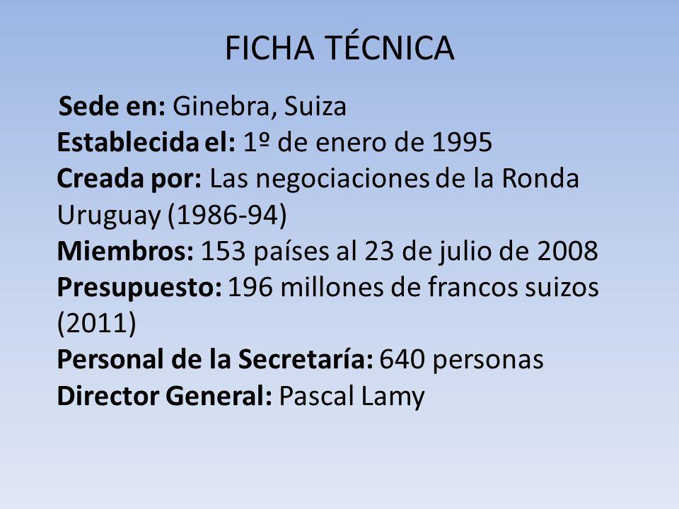 FICHA TÉCNICA Sede en: Ginebra, Suiza Establecida el: 1º de enero de 1995 Creada por: Las negociaciones de la Ronda Uruguay (1986-94) Miembros: 153 pa