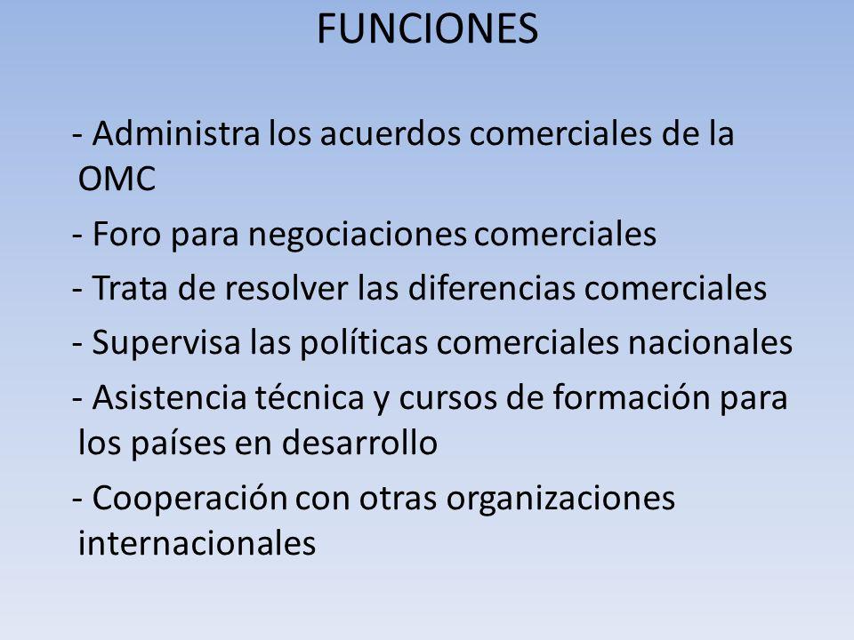 FUNCIONES - Administra los acuerdos comerciales de la OMC - Foro para negociaciones comerciales - Trata de resolver las diferencias comerciales - Supe