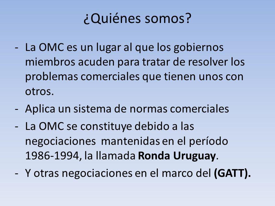 ¿Quiénes somos? -La OMC es un lugar al que los gobiernos miembros acuden para tratar de resolver los problemas comerciales que tienen unos con otros.