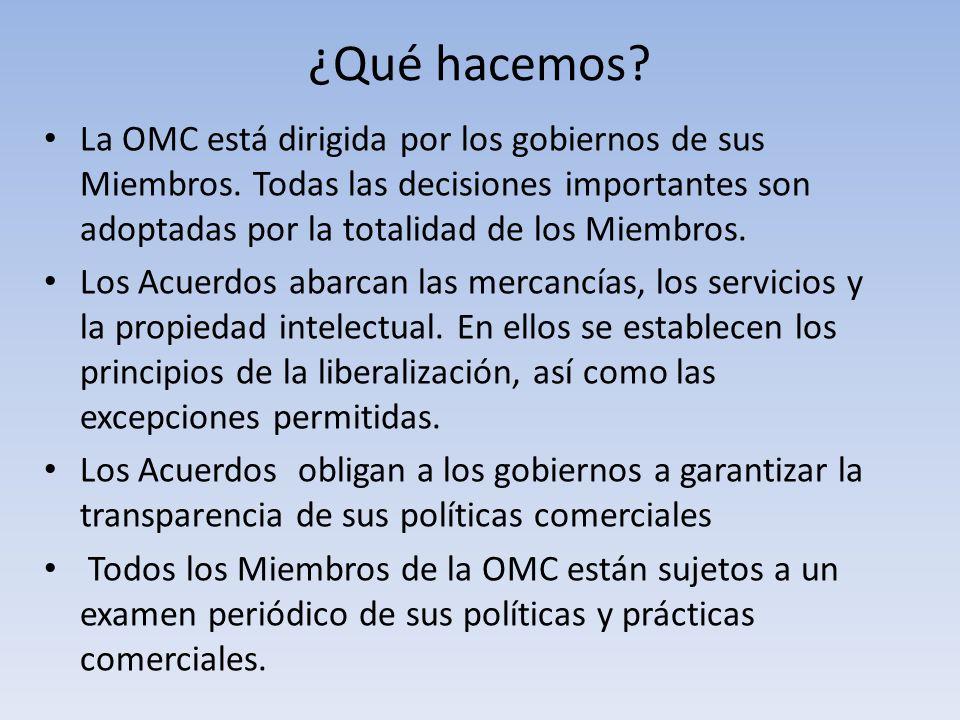 ¿Qué hacemos? La OMC está dirigida por los gobiernos de sus Miembros. Todas las decisiones importantes son adoptadas por la totalidad de los Miembros.