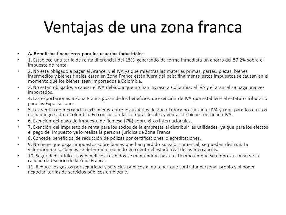 Ventajas de una zona franca A. Beneficios financieros para los usuarios industriales 1. Establece una tarifa de renta diferencial del 15%, generando d