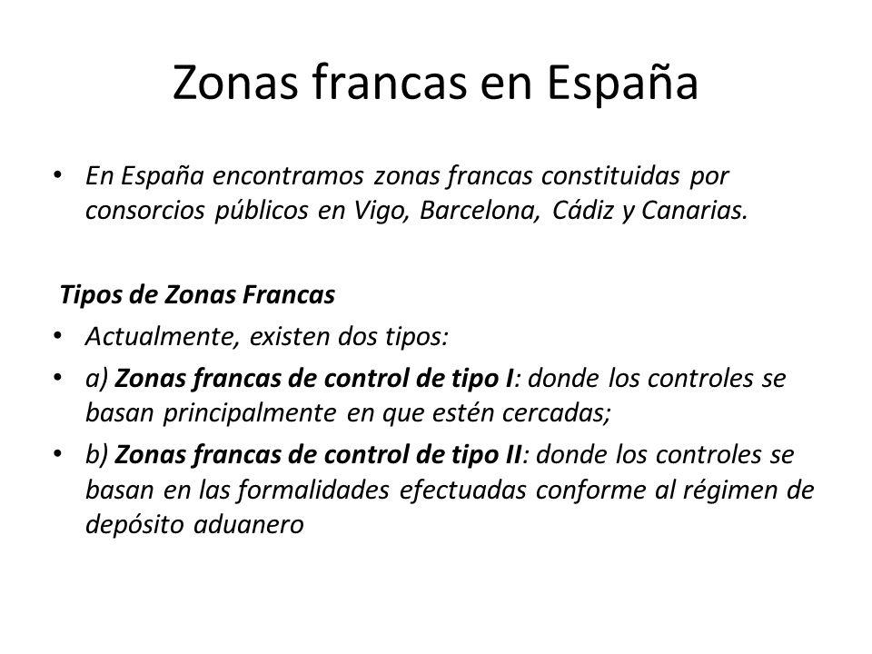 Zonas francas en España En España encontramos zonas francas constituidas por consorcios públicos en Vigo, Barcelona, Cádiz y Canarias. Tipos de Zonas