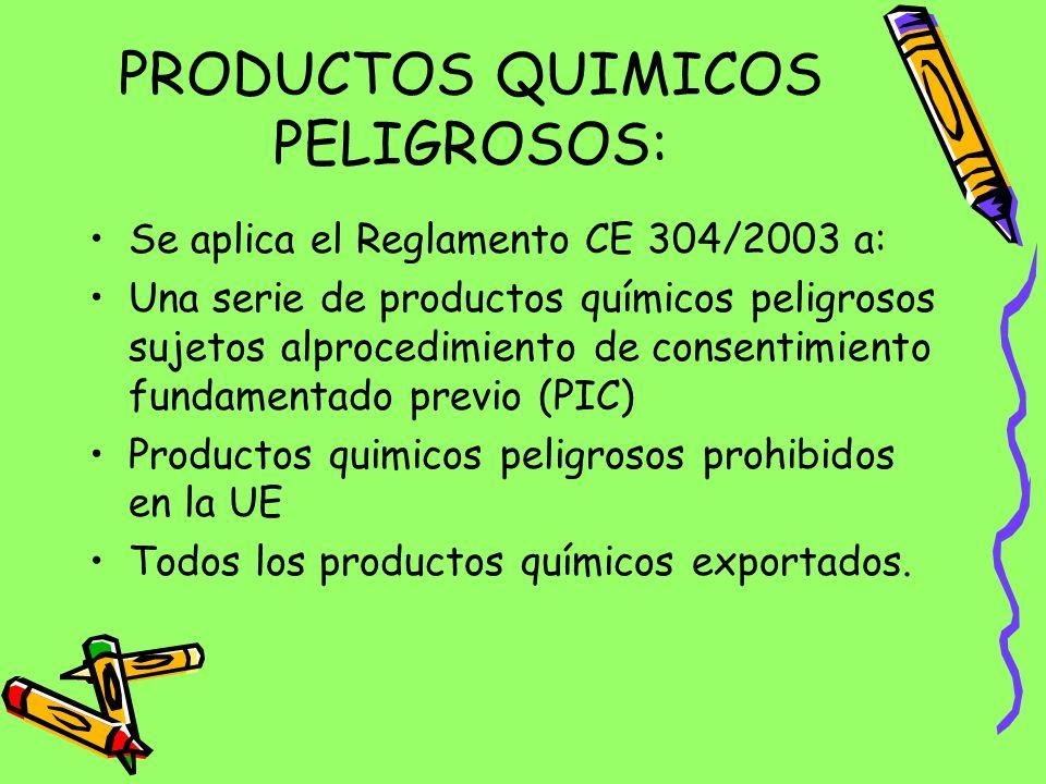 PRODUCTOS QUIMICOS PELIGROSOS: Se aplica el Reglamento CE 304/2003 a: Una serie de productos químicos peligrosos sujetos alprocedimiento de consentimiento fundamentado previo (PIC) Productos quimicos peligrosos prohibidos en la UE Todos los productos químicos exportados.