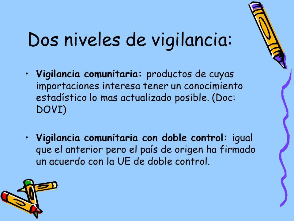 Dos niveles de vigilancia: Vigilancia comunitaria: productos de cuyas importaciones interesa tener un conocimiento estadístico lo mas actualizado posible.