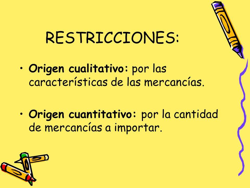 RESTRICCIONES: Origen cualitativo: por las características de las mercancías.
