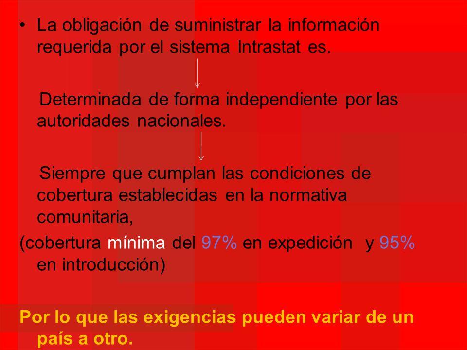 La obligación de suministrar la información requerida por el sistema Intrastat es. Determinada de forma independiente por las autoridades nacionales.