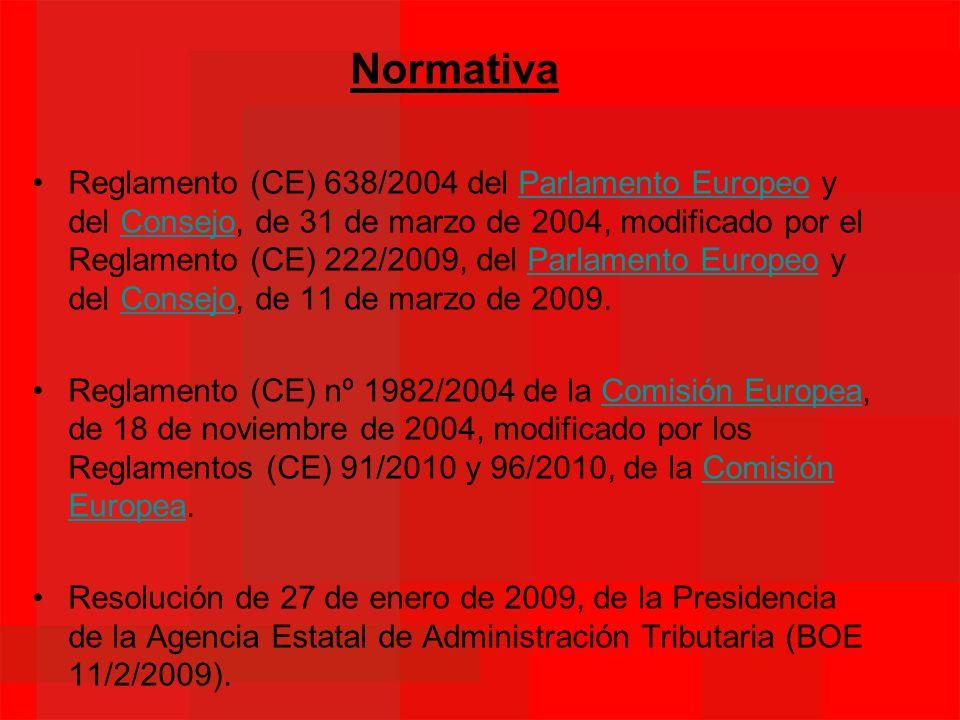 Normativa Reglamento (CE) 638/2004 del Parlamento Europeo y del Consejo, de 31 de marzo de 2004, modificado por el Reglamento (CE) 222/2009, del Parla