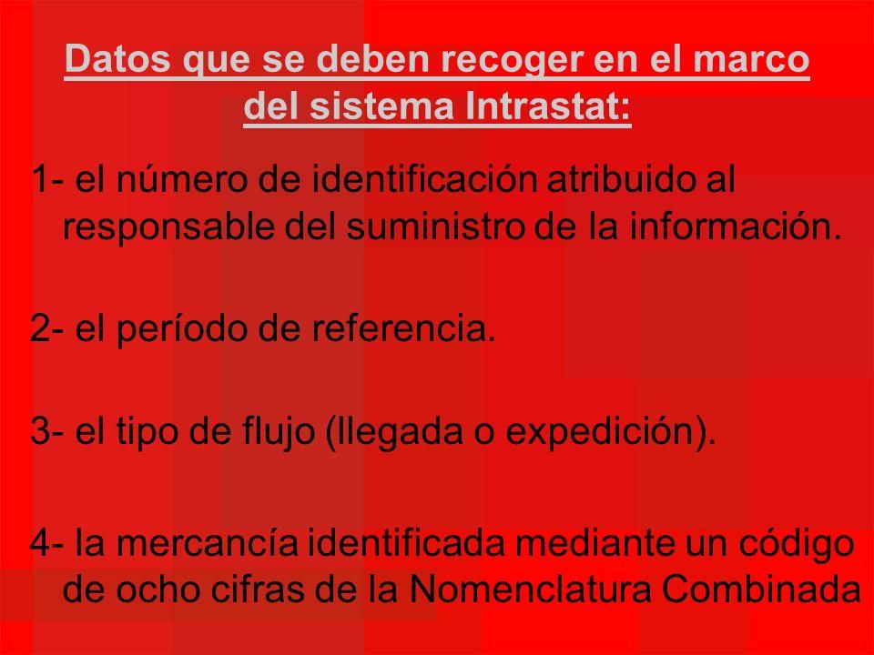 Datos que se deben recoger en el marco del sistema Intrastat: 1- el número de identificación atribuido al responsable del suministro de la información