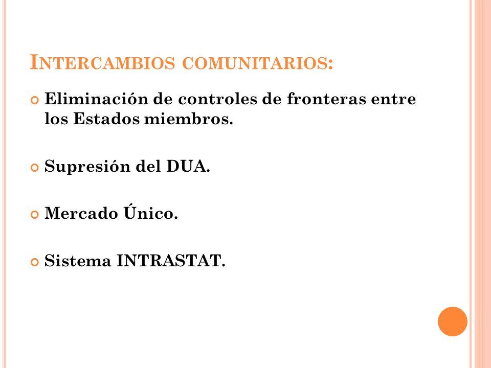 I NTERCAMBIOS COMUNITARIOS : Eliminación de controles de fronteras entre los Estados miembros. Supresión del DUA. Mercado Único. Sistema INTRASTAT.