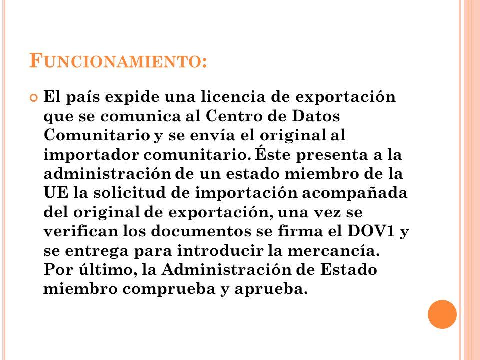F UNCIONAMIENTO : El país expide una licencia de exportación que se comunica al Centro de Datos Comunitario y se envía el original al importador comun