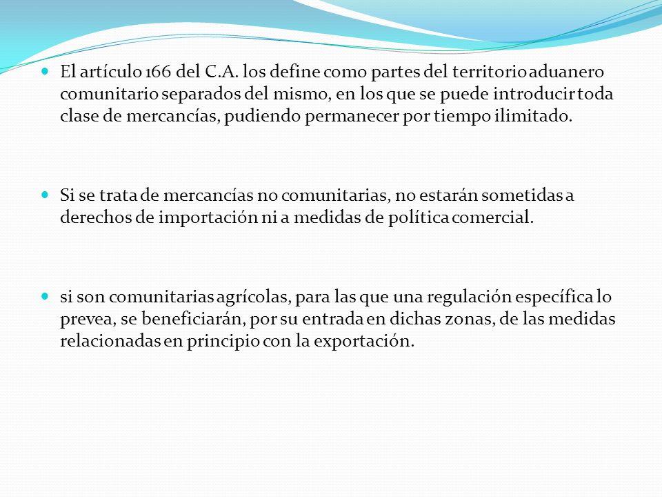 El artículo 166 del C.A. los define como partes del territorio aduanero comunitario separados del mismo, en los que se puede introducir toda clase de