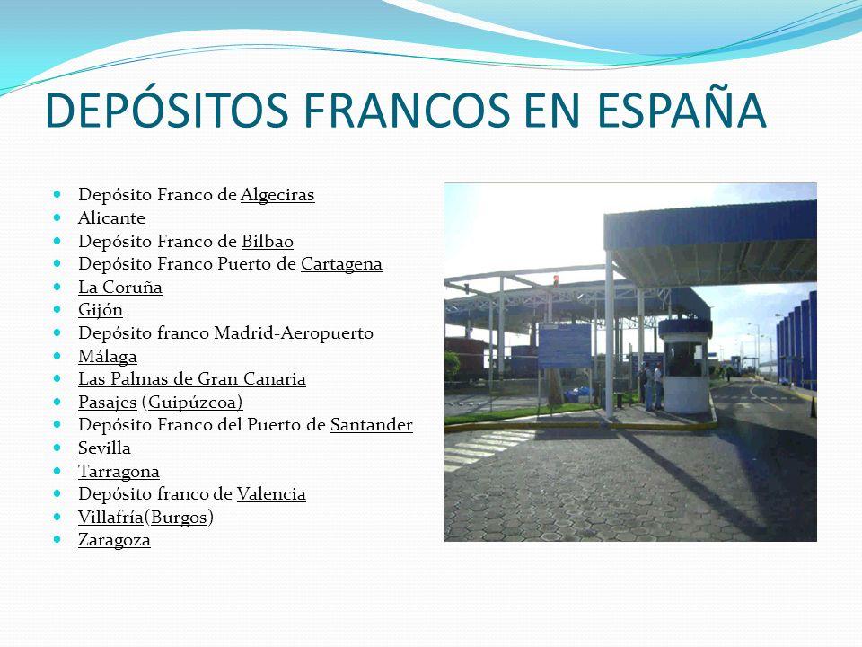 DEPÓSITOS FRANCOS EN ESPAÑA Depósito Franco de Algeciras Alicante Depósito Franco de Bilbao Depósito Franco Puerto de Cartagena La Coruña Gijón Depósi