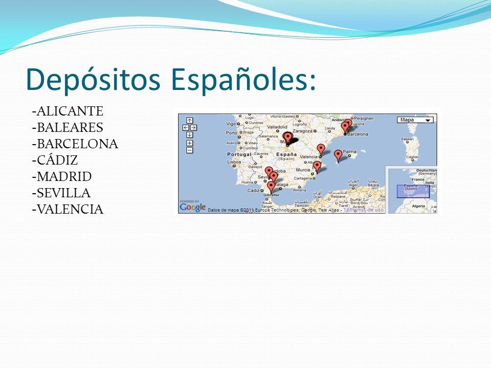Depósitos Españoles: -ALICANTE -BALEARES -BARCELONA -CÁDIZ -MADRID -SEVILLA -VALENCIA