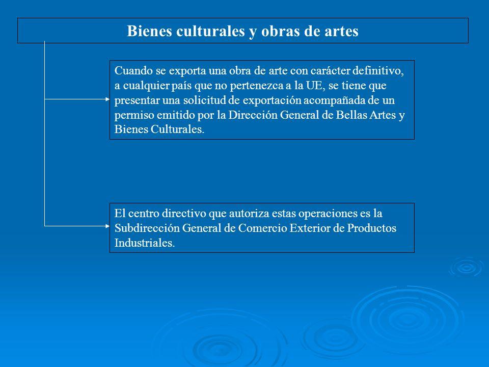Bienes culturales y obras de artes Cuando se exporta una obra de arte con carácter definitivo, a cualquier país que no pertenezca a la UE, se tiene que presentar una solicitud de exportación acompañada de un permiso emitido por la Dirección General de Bellas Artes y Bienes Culturales.