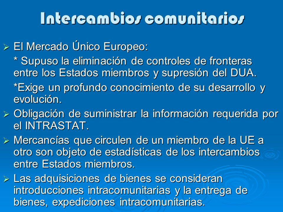 Intercambios comunitarios El Mercado Único Europeo: El Mercado Único Europeo: * Supuso la eliminación de controles de fronteras entre los Estados miembros y supresión del DUA.