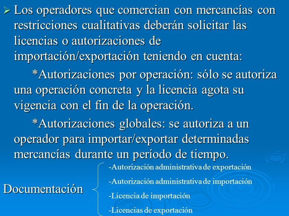 Los operadores que comercian con mercancías con restricciones cualitativas deberán solicitar las licencias o autorizaciones de importación/exportación