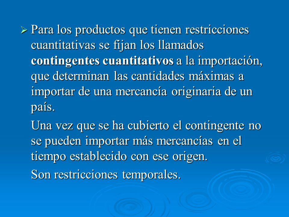 Para los productos que tienen restricciones cuantitativas se fijan los llamados contingentes cuantitativos a la importación, que determinan las cantid