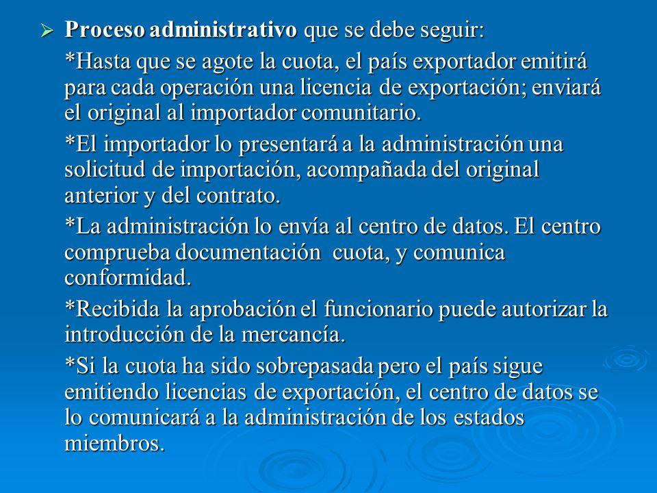 Proceso administrativo que se debe seguir: Proceso administrativo que se debe seguir: *Hasta que se agote la cuota, el país exportador emitirá para cada operación una licencia de exportación; enviará el original al importador comunitario.