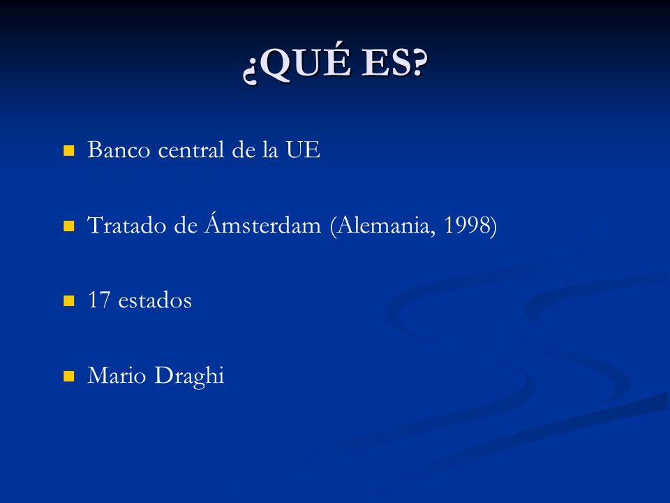¿QUÉ ES? Banco central de la UE Tratado de Ámsterdam (Alemania, 1998) 17 estados Mario Draghi