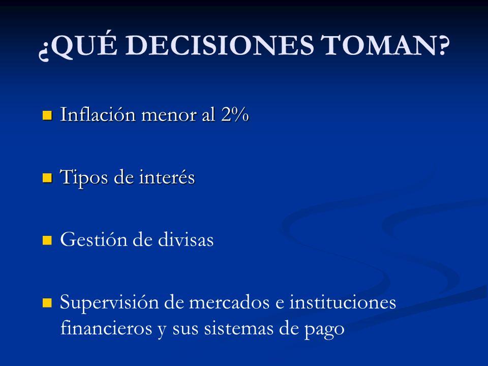 ¿QUÉ DECISIONES TOMAN? Inflación menor al 2% Inflación menor al 2% Tipos de interés Tipos de interés Gestión de divisas Supervisión de mercados e inst