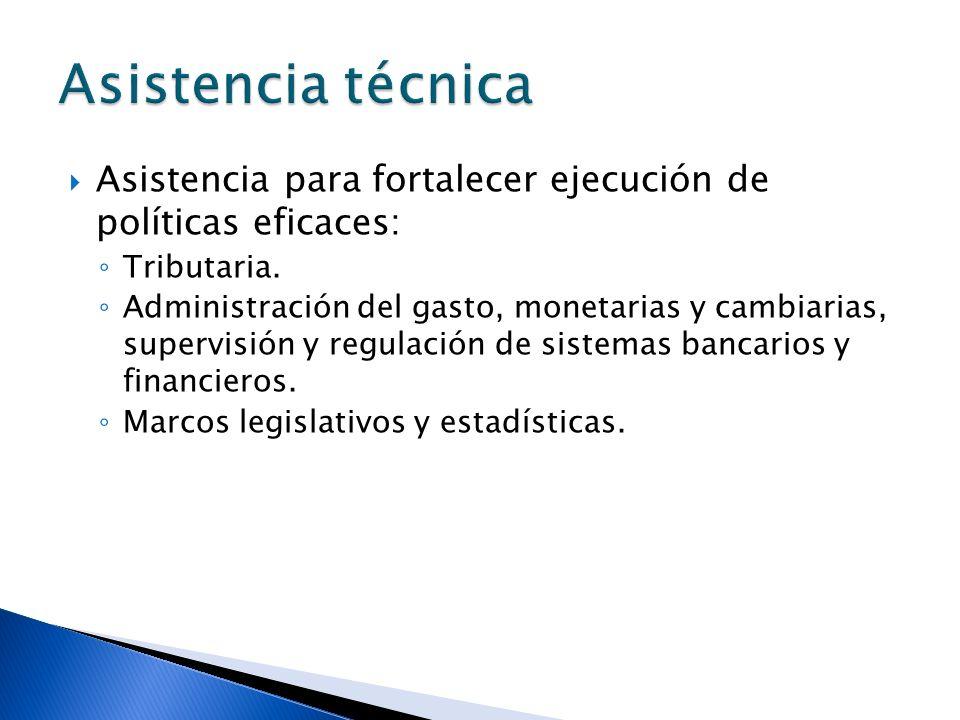 Asistencia para fortalecer ejecución de políticas eficaces: Tributaria. Administración del gasto, monetarias y cambiarias, supervisión y regulación de