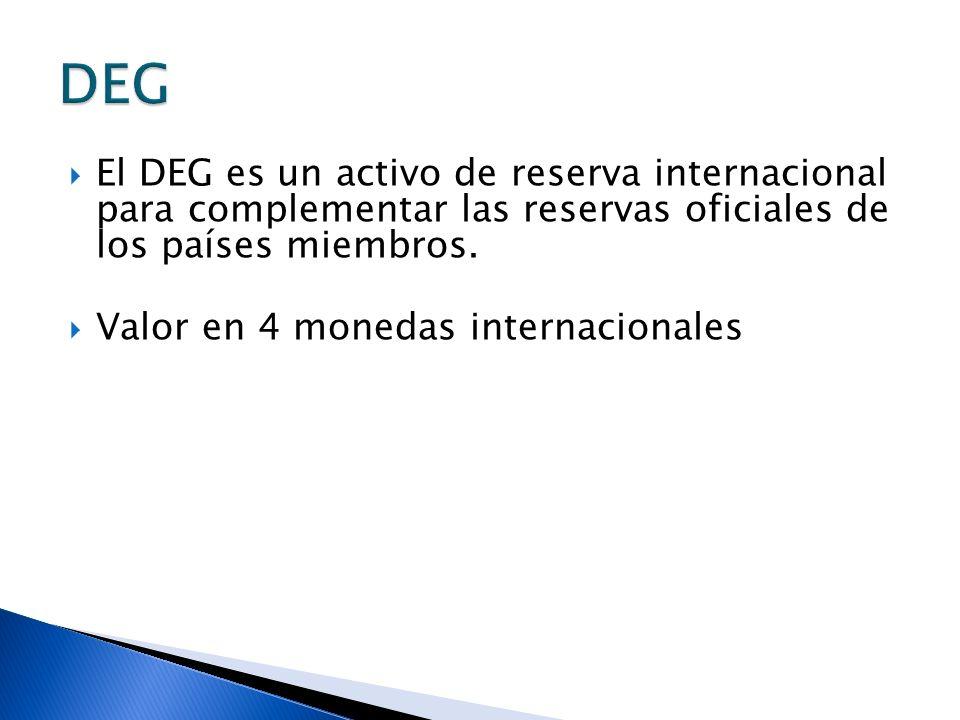 El DEG es un activo de reserva internacional para complementar las reservas oficiales de los países miembros. Valor en 4 monedas internacionales