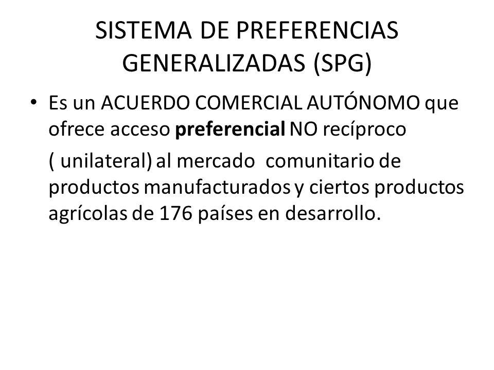 SISTEMA DE PREFERENCIAS GENERALIZADAS (SPG) Es un ACUERDO COMERCIAL AUTÓNOMO que ofrece acceso preferencial NO recíproco ( unilateral) al mercado comu