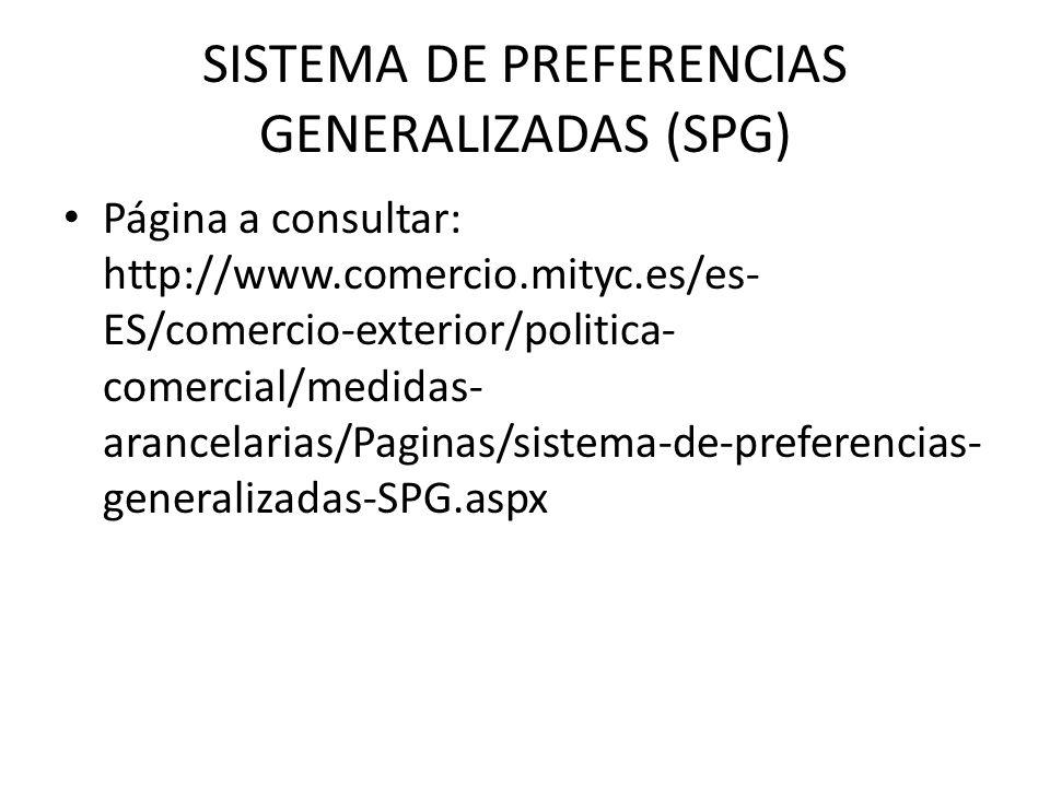 SISTEMA DE PREFERENCIAS GENERALIZADAS (SPG) Página a consultar: http://www.comercio.mityc.es/es- ES/comercio-exterior/politica- comercial/medidas- ara