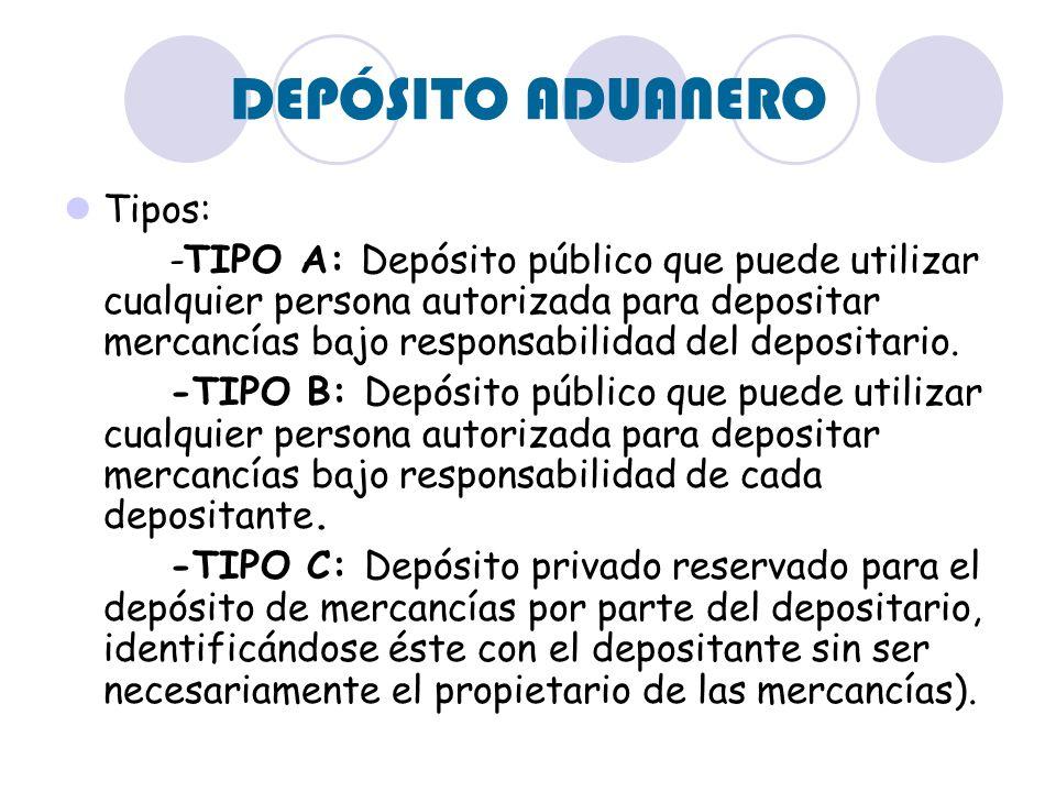 DEPÓSITO ADUANERO Tipos: -TIPO A: Depósito público que puede utilizar cualquier persona autorizada para depositar mercancías bajo responsabilidad del