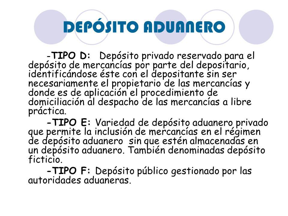 DEPÓSITO ADUANERO - TIPO D: Depósito privado reservado para el depósito de mercancías por parte del depositario, identificándose éste con el depositan