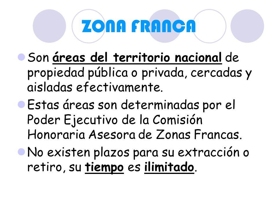 ZONA FRANCA Son áreas del territorio nacional de propiedad pública o privada, cercadas y aisladas efectivamente. Estas áreas son determinadas por el P
